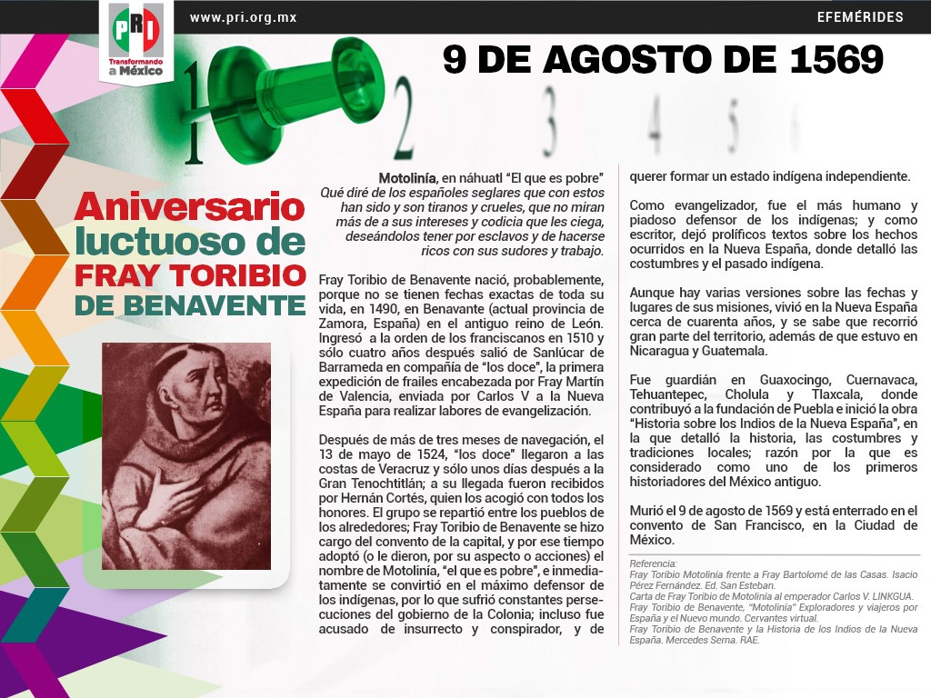 Aniversario Luctuoso de Fray Toribio de Benavente