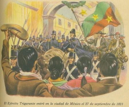 Llegada del ejercito Trigarante liderado por Agustín de Iturbide. Fuente: http://gerardomorah.files.wordpress.com/2010/06/ejercito-trigarante-2.jpg